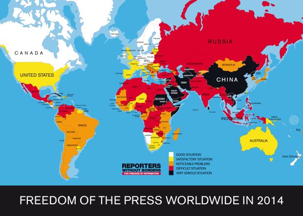 Clasificación de la Libertad de Expresión de Reporteros sin Fronteras 2014